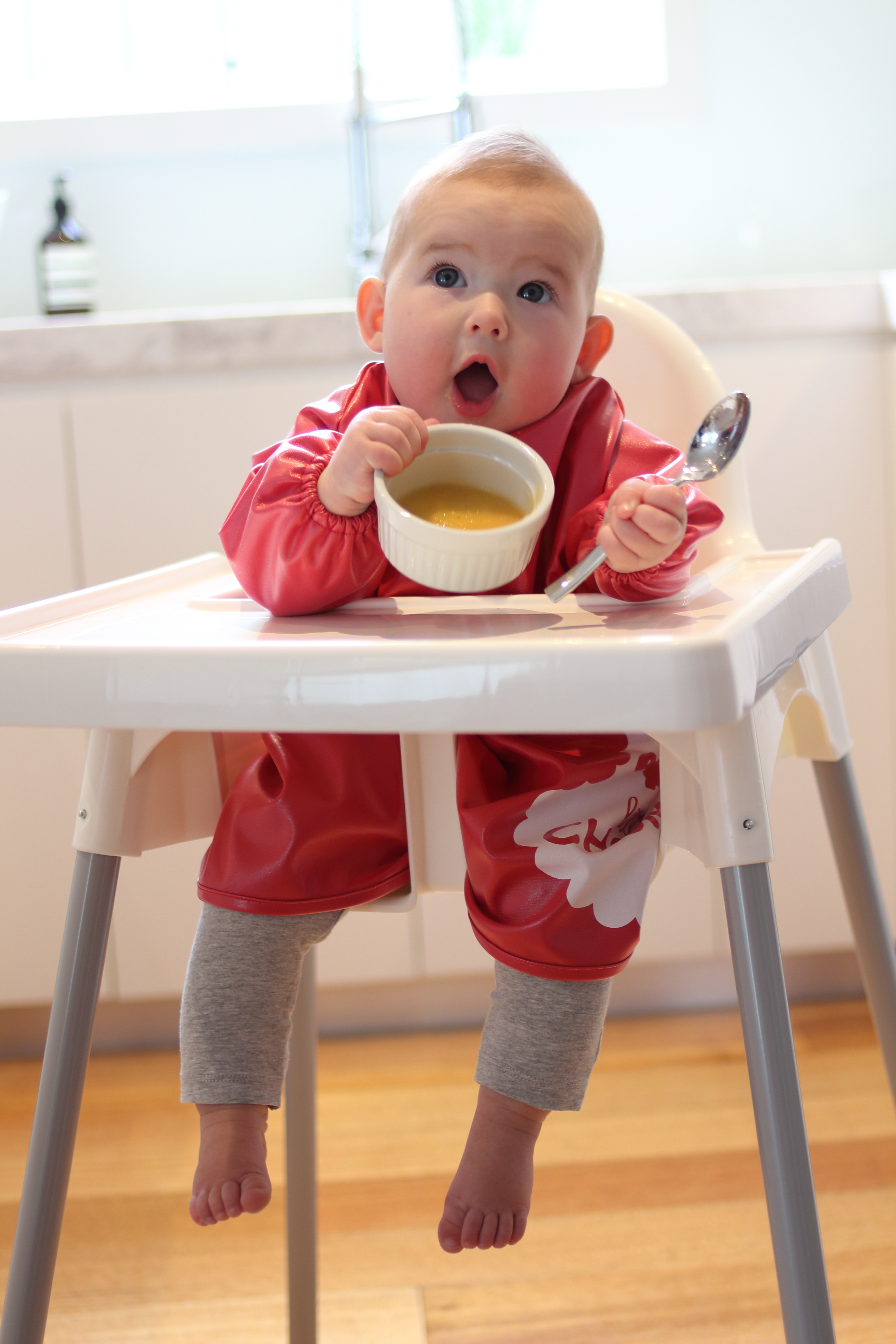 "Say ""yay!"" to less washing with a Little Chomps Messy Mealtime Smock"